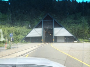 Entrance to Whittier tunnel.