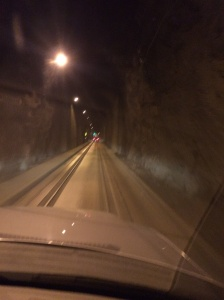 Inside Whittier tunnel.